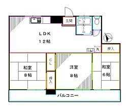 西武新宿線 下落合駅 徒歩3分の賃貸マンション 5階3LDKの間取り