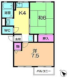 奈良県奈良市朱雀4丁目の賃貸アパートの間取り
