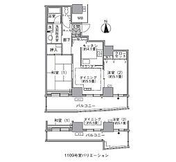 都営大江戸線 汐留駅 徒歩4分の賃貸マンション 29階2DKの間取り