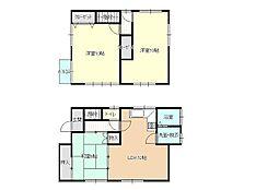 リフォーム後間取り図1階はDKと和室をつなげてLDKへと間取り変更を行いました。2階は広めの洋室二部屋に間取り変更しました。