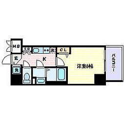 JR東海道・山陽本線 三ノ宮駅 徒歩5分の賃貸マンション 2階1Kの間取り