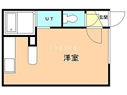 SAKURA(旧キャメロット) 2階ワンルームの間取り