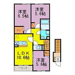 愛知県半田市乙川源内林町3丁目の賃貸アパートの間取り