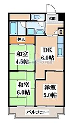 花園マンション巽[5階]の間取り