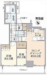 品川タワーレジデンス 17階2LDKの間取り