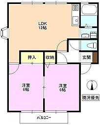 長野県長野市吉田 5丁目の賃貸アパートの間取り