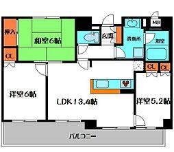 Osaka Metro谷町線 大日駅 徒歩24分の賃貸マンション 5階3LDKの間取り