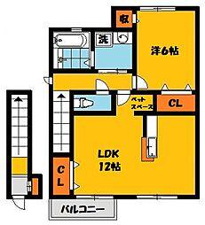 エターナル宝木 E[2階]の間取り
