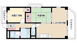 愛知県名古屋市瑞穂区彌富通3丁目の賃貸マンションの間取り