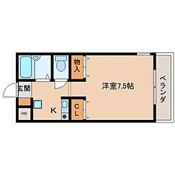 奈良県生駒市仲之町の賃貸アパートの間取り