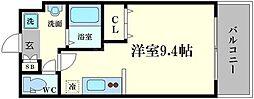 仮称)都島本通4丁目新築マンション 4階ワンルームの間取り