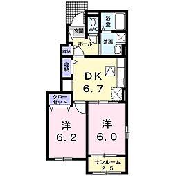 香川県さぬき市長尾東(アパート) 1階2DKの間取り