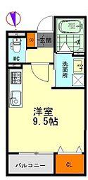 名鉄名古屋本線 栄生駅 徒歩9分の賃貸アパート 3階ワンルームの間取り