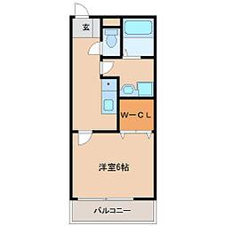 JR東海道・山陽本線 立花駅 徒歩11分の賃貸アパート 1階1Kの間取り