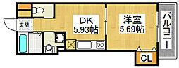 ハイツ・カトレヤ[3階]の間取り