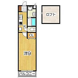 京都府京都市山科区東野南井ノ上町の賃貸アパートの間取り