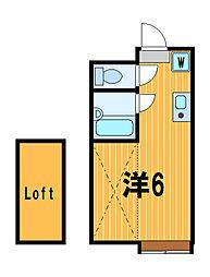神奈川県横浜市港北区樽町3の賃貸アパートの間取り