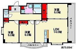 福岡県福岡市南区屋形原1丁目の賃貸マンションの間取り