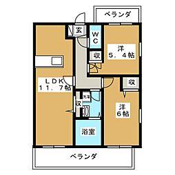 吉祥院マンション(仮) 2階2LDKの間取り