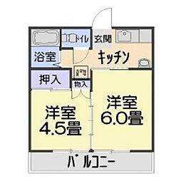 ピエールドゥ花山[203号室]の間取り