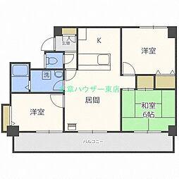 北海道札幌市東区東苗穂三条2丁目の賃貸マンションの間取り