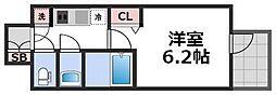 ファーストフィオーレ天王寺筆ヶ崎EYE 6階1Kの間取り