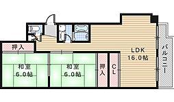 大阪府大阪市阿倍野区美章園2丁目の賃貸マンションの間取り