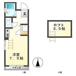 コーポセブン[3階]の間取り
