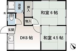 香陽荘[202号室]の間取り