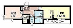 カーサグラスB[3階]の間取り