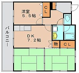 エメラルドマンション筥松[3階]の間取り