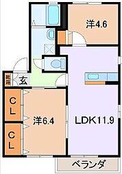 静岡県駿東郡清水町堂庭の賃貸アパートの間取り