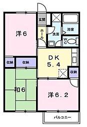 神奈川県厚木市妻田西2丁目の賃貸アパートの間取り