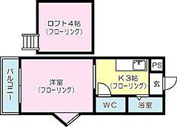 アップルハウス井堀 B棟[206号室]の間取り