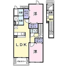 神奈川県秦野市南矢名の賃貸アパートの間取り