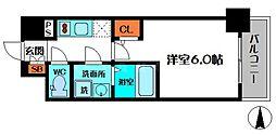 エスリード新福島 10階1Kの間取り