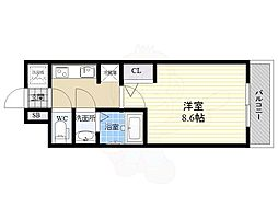S-RESIDENCE江坂Eminence 5階1Kの間取り