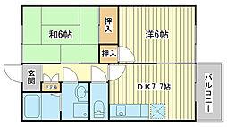 コーポモトカワII[202号室]の間取り