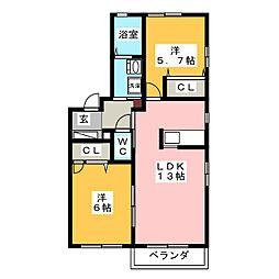 サニーハイツA棟[2階]の間取り