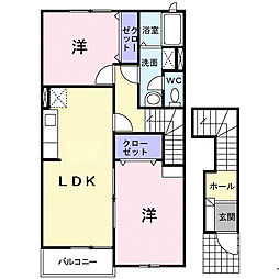 福岡県福岡市早良区内野3丁目の賃貸アパートの間取り