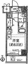クラリッサ川崎ブルーノ 9階ワンルームの間取り