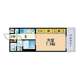 リブリ・FuJi 吉塚 2階1Kの間取り