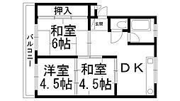 東香里コーポ[0201号室]の間取り