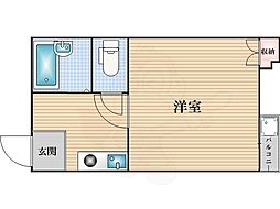 Osaka Metro御堂筋線 大国町駅 徒歩5分の賃貸マンション 2階1Kの間取り