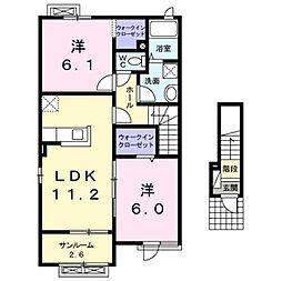 [大東建託]ラッフィナート I[2階]の間取り