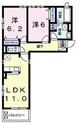 井原鉄道 川辺宿駅 徒歩17分の賃貸アパート 2階2LDKの間取り