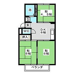 メゾンドール吉田[2階]の間取り