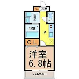 愛知県名古屋市瑞穂区駒場町4の賃貸マンションの間取り