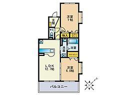 福岡県福岡市東区若宮4丁目の賃貸マンションの間取り
