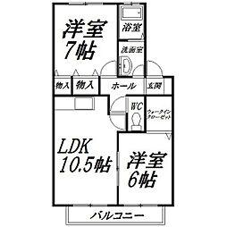 静岡県浜松市中区西伊場町の賃貸アパートの間取り